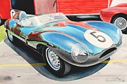 Automobilia Paintings - D Type by Robert Hooper