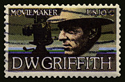 Film Maker Framed Prints - D. W. Griffith Postage Stamp Framed Print by Phil Cardamone
