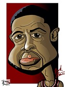 Miami Heat Posters - D Wade Poster by Mark Baines