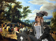 Dachshund Art Paintings - Dachshund Art - Philippe Francois dArenberg meeting Troops by Sandra Sij