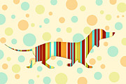 Dog Abstract Art Print Framed Prints - Dachshund Fun Colorful Abstract Framed Print by Natalie Kinnear