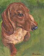 Dachshund Art Paintings - Dachshund Love by Hope Lane