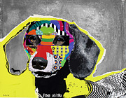 Abstracts Mixed Media Prints - Dachshund  Print by Michel  Keck