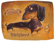 Dachshund Art Paintings - Dachshund Much More Than A HOT DOG by Shawn Shea