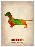 Pets Art Digital Art Metal Prints - Dachshund Poster 2 Metal Print by Irina  March