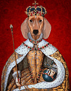 Wall Art Prints Digital Art Metal Prints - Dachshund Queen Metal Print by Kelly McLaughlan