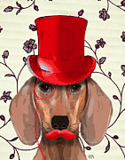Wall Art Prints Digital Art Metal Prints - Dachshund Red Hat and Moustache Metal Print by Kelly McLaughlan