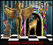 Clock Hands Digital Art Prints - DADA Goddess Print by Stuart Swartz