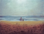 Daughter Pastels Posters - Daddy at the Beach Poster by Samantha Geernaert