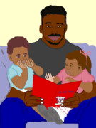Father And Son Drawings - Daddys Bundles by Pharris Art