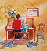 Girl Playing Piano Paintings - Daddys Little Girl by Marilyn Jacobson