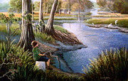 Tributaries Paintings - Daddys Old Zebco-Fisheating creek. by Daniel Butler