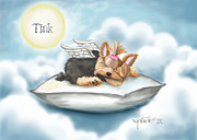 Tink Framed Prints - Daddys pillow in heaven Framed Print by Catia Cho