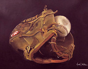 Baseball Glove Painting Metal Prints - Dads Glove Metal Print by Jared Wilkins