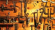 Old Saws Framed Prints - Dads Tools 3 Framed Print by Will Boutin Photos