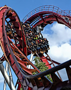 Thrill Digital Art - Daemonen - The Demon Rollercoaster - Tivoli Gardens - Copenhagen by Julia Springer