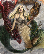 Shading Drawings - Daenerys and Her Dragons by Jason Axtell