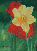 Green Day Pastels Posters - Daffodil and Poppies Poster by Marna Edwards Flavell