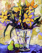 Daffodils Posters - Daffodils and Pears Still Life Poster by Ginette Callaway