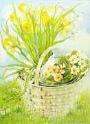 Rural Life Painting Framed Prints - Daffodils and primroses in a basket Framed Print by Joan Thewsey