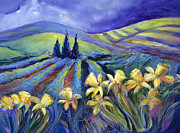 Blue Purple Paintings - Daffodils and Stormclouds by Jen Norton