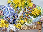 Table Cloth Painting Framed Prints - Daffodils Antique Jugs Plates Textiles and Lace Framed Print by Joan Thewsey