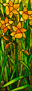 Art Nouveau Glass Art - Daffodils by David Kennedy