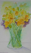 Daffodils Originals - Daffodils in Glass Vase - Watercolor - Still Life by Geeta Biswas