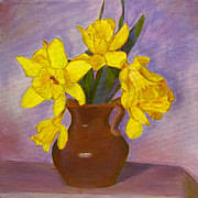 Robie Benve Prints - Daffodils on Purple Print by Robie Benve