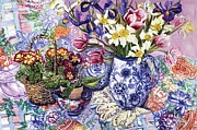 Table Cloth Prints - Daffodils Tulips and Iris in a Jacobean Blue and White Jug with Sanderson Fabric and Primroses Print by Joan Thewsey