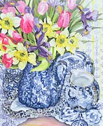 Blue And White Painting Prints - Daffodils Tulips and Irises with Blue Antique Pots  Print by Joan Thewsey
