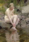 Bathing Washing Cleaning Prints - Dagmar Print by Anders Leonard Zorn