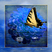 Tiger Swallowtail Digital Art Prints - Dahlia and the Butterfly Print by EricaMaxine  Price