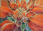 Fine Art Batik Posters - Dahlia Floral Abstract  Poster by Marcia Baldwin