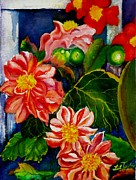 Perennials Painting Posters - Dahlias Poster by Lil Taylor