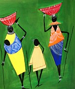 Tribal Art Paintings - Daily Chores by Shruti Shubham