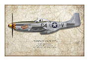 Aviation Artwork Posters - Dainty Dotty P-51D Mustang - Map Background Poster by Craig Tinder