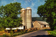Farming Barns Digital Art Posters - Dairy Farming Poster by Lois Bryan