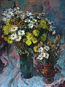 Flower Still Life Prints Prints - Daisies and Chrysanthemums Print by Valery Kosorukov