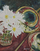 Trumpet Painting Posters - Daisies Bold as Brass Poster by Jenny Armitage