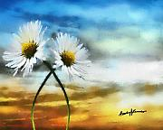 Spring  Digital Art Metal Prints - Daisies in Love Metal Print by Anthony Caruso