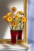 Daisies In Red Vase Print by Tony Cordoza