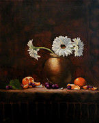 Stoneware Paintings - Daisies in Stoneware Pot by Judith Huth