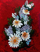 Forget Me Not Paintings - Daisies Lilacs and Forget me nots by Barbara Griffin