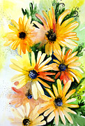 Home Drawings Metal Prints - Daisies Metal Print by Lyubomir Kanelov
