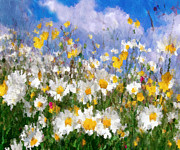 Wild Life Mixed Media Metal Prints - Daisies On A Hill - Impressionism Metal Print by Zeana Romanovna