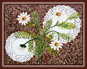Doilies Framed Prints - Daisies on Doilies Framed Print by Barbara Griffin
