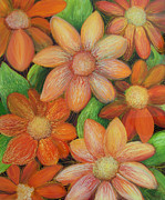 Orange Glass Art - Daisy Bouquet by Anna Skaradzinska