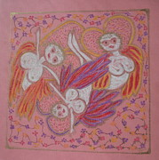 Virgin Mary Pastels Prints - Daisy Chain Angels Print by Lyn Blore Dufty