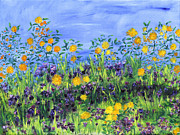 Field Of Sunflowers Paintings - Daisy Days by Regina Valluzzi